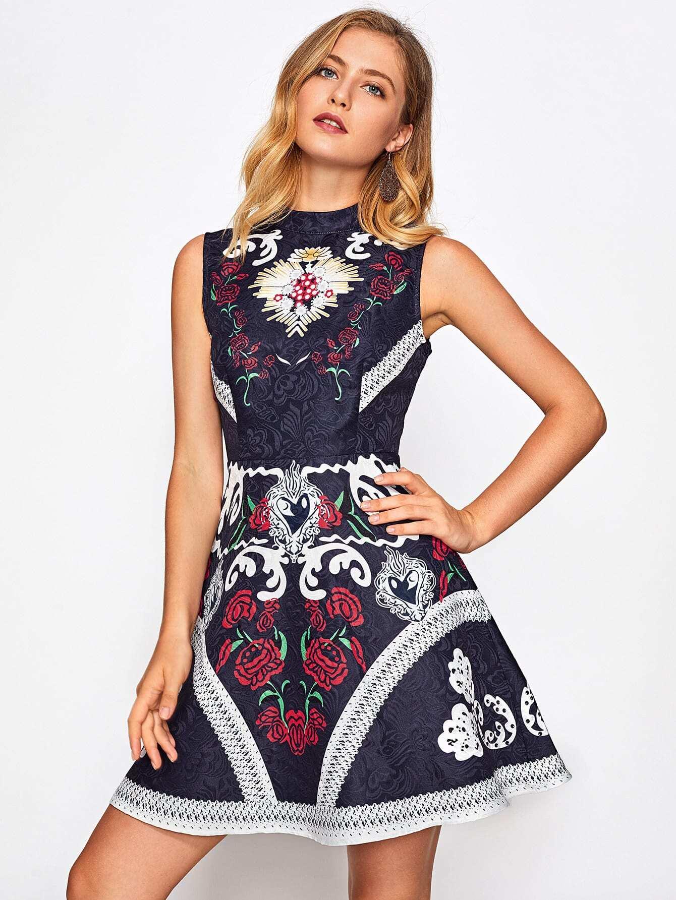 Mixed Print Fit & Flare Jacquard Dress