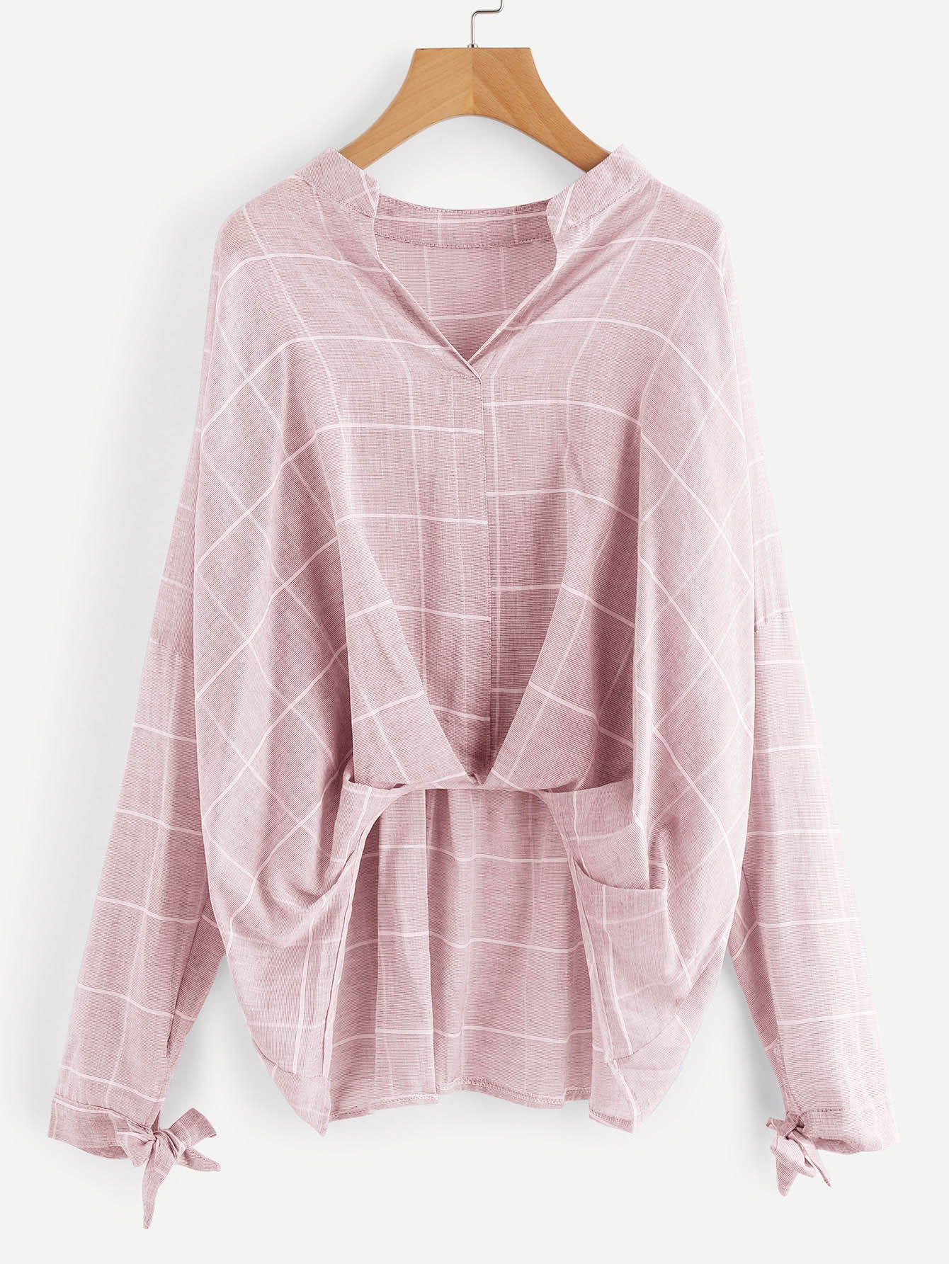 Grid Drop Shoulder Pleated Detail Blouse drop shoulder grommet tie detail sweatshirt