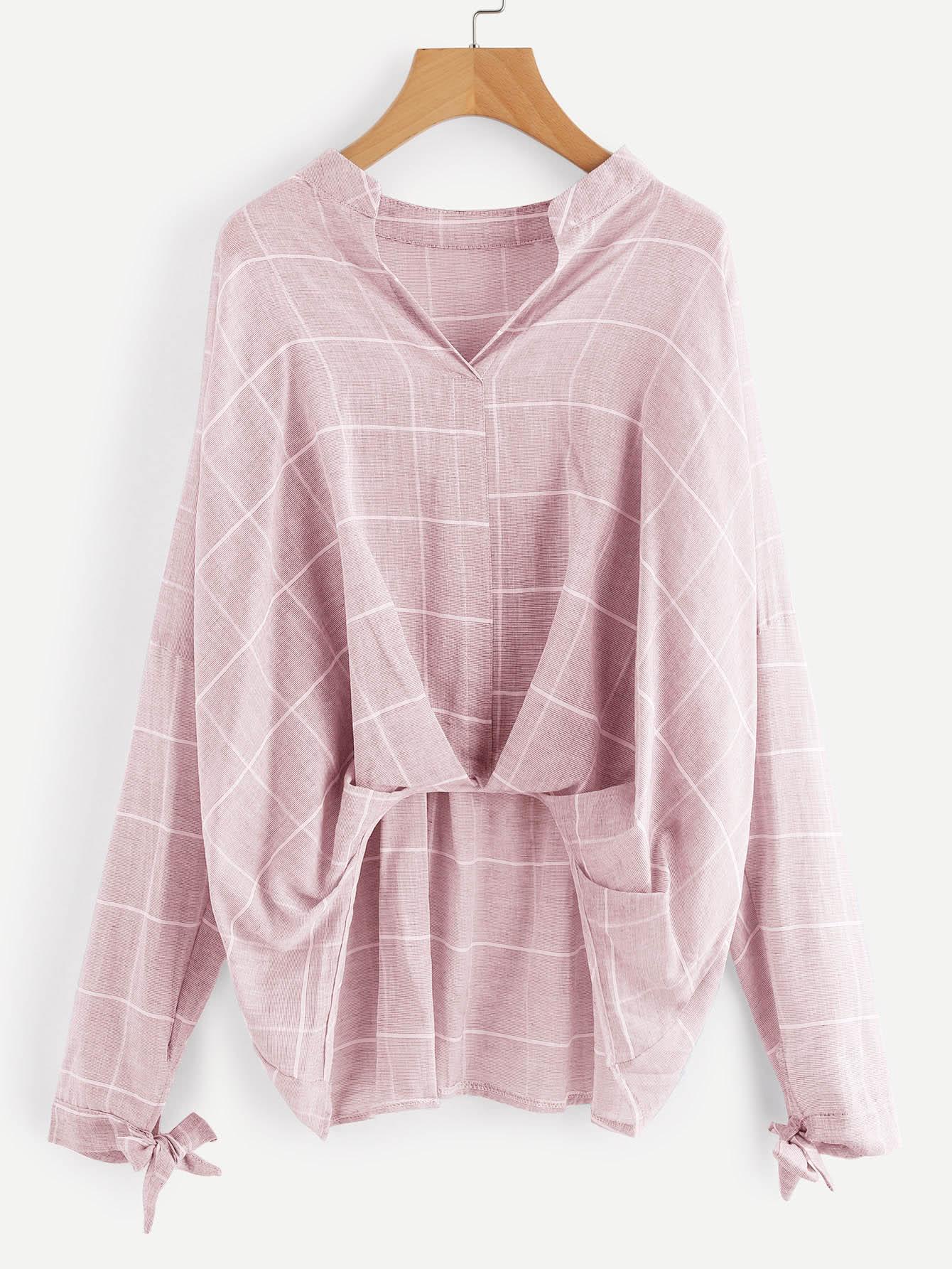 Grid Drop Shoulder Pleated Detail Blouse metal grommet detail drop shoulder sweatshirt dress