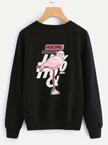 Flamingo Print Pullover