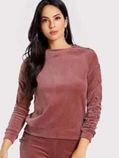 Lace Up Sleeve Velvet Sweatshirt SALMON