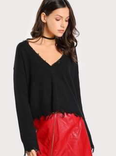 Distressed Low V Neck Top BLACK