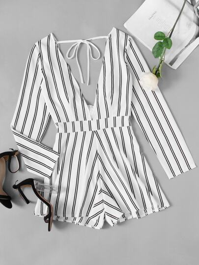 Deep V Neckline Tie Back Striped Romper