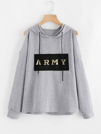 Cold Shoulder Patch Front Hoodie