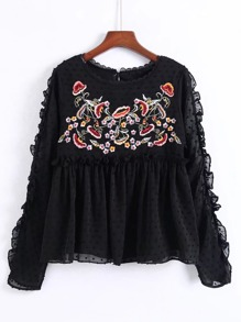 Embroidered Flower Frill Edge Babydoll Blouse