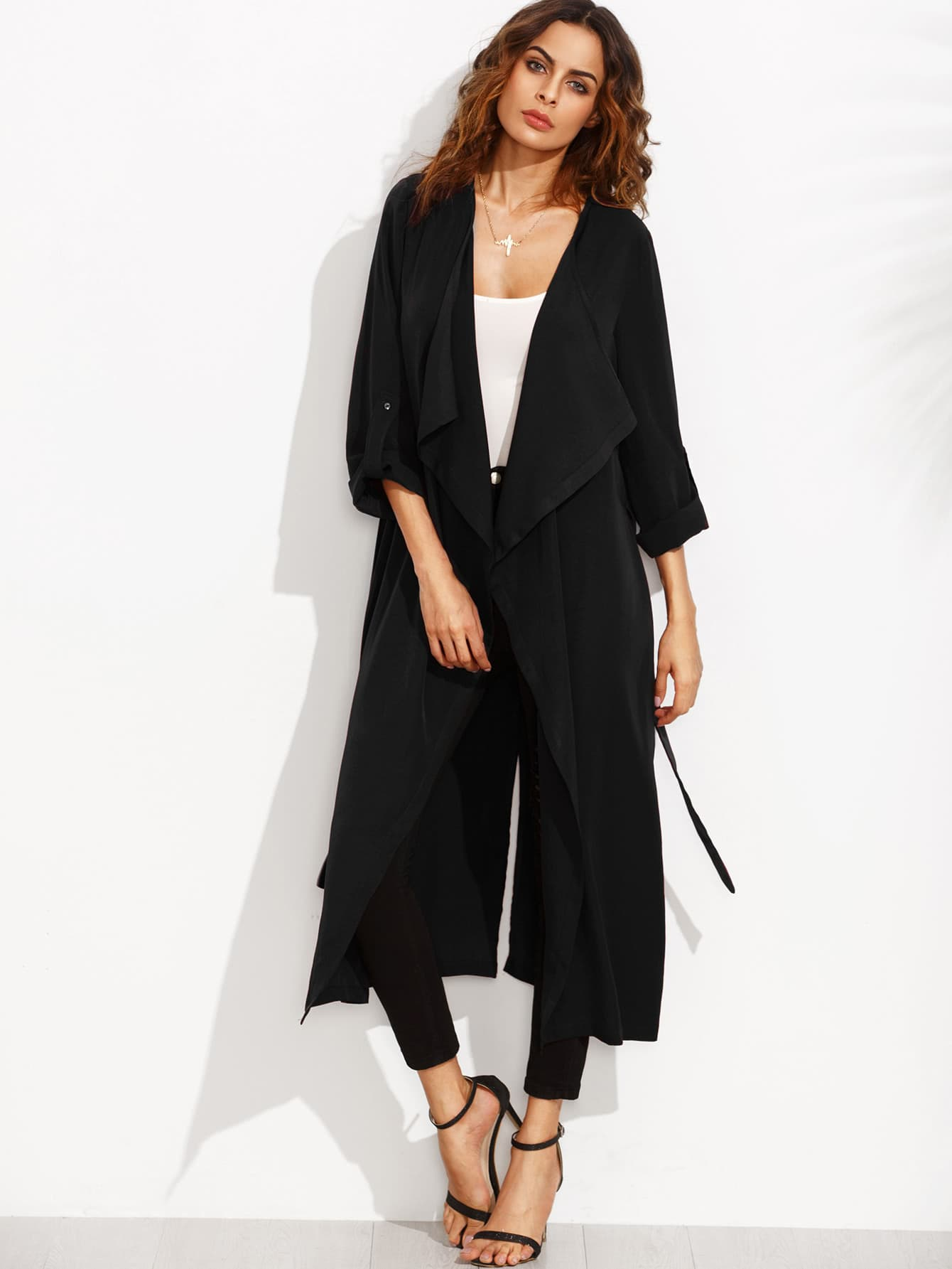 Rolled Up Sleeve Split Back Self Tie Outerwear split sleeve self tie bodysuit