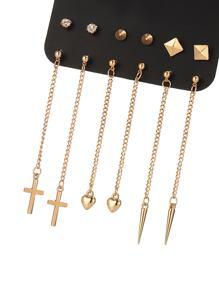 Heart & Cross Design Earring Set 6 Pair