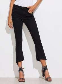 Frayed Edge Slit Flare Jeans