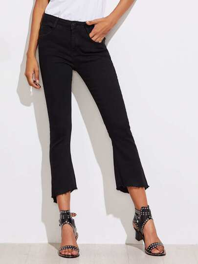 Frayed Edge Slit Flare Jeans