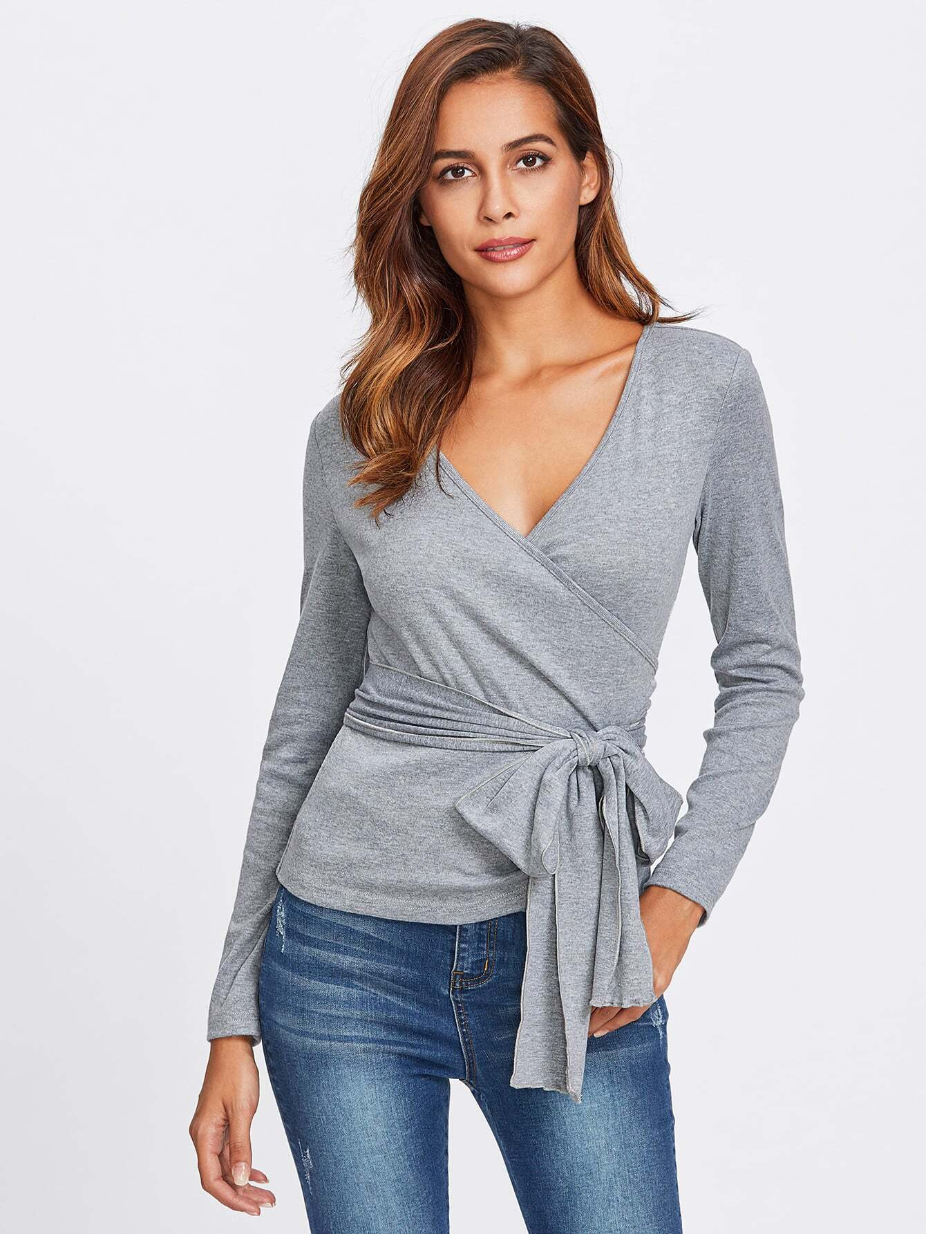 Surplice wrap heathered knit top shein sheinside for Wrap style t shirts