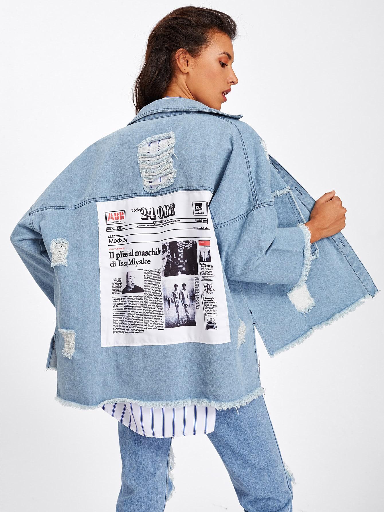 Frayed Trim Patch Back Distressed Jacket patch design distressed denim jacket