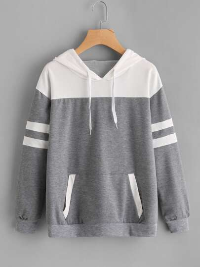 Contrast Panel Varsity Striped Marled Hoodie
