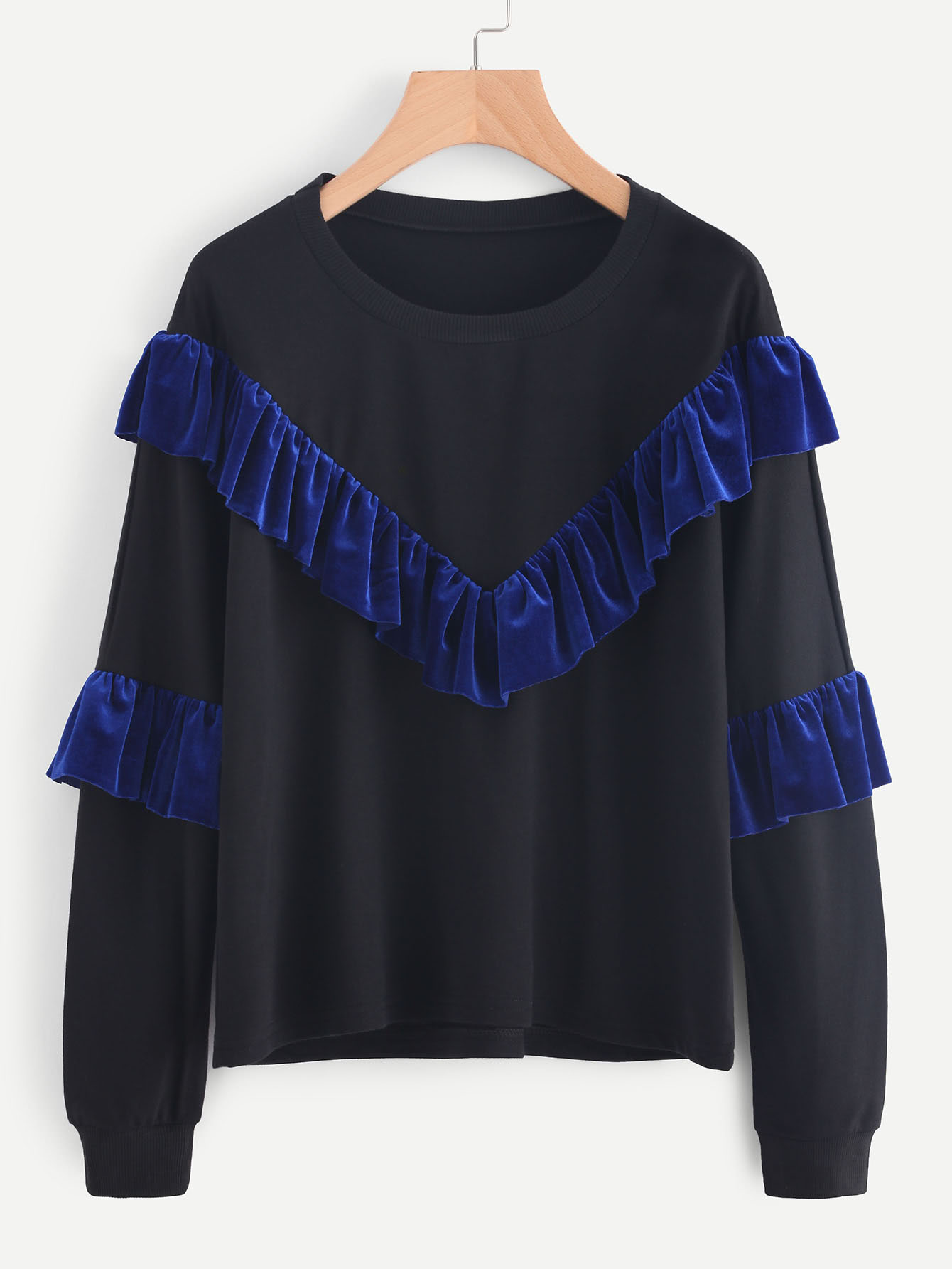 Velvet Frill Trim Panel Sweatshirt