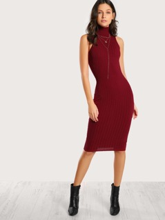 Turtleneck Sleeveless Bodycon Dress RED