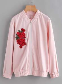 Embroidered Rose Applique Jacket