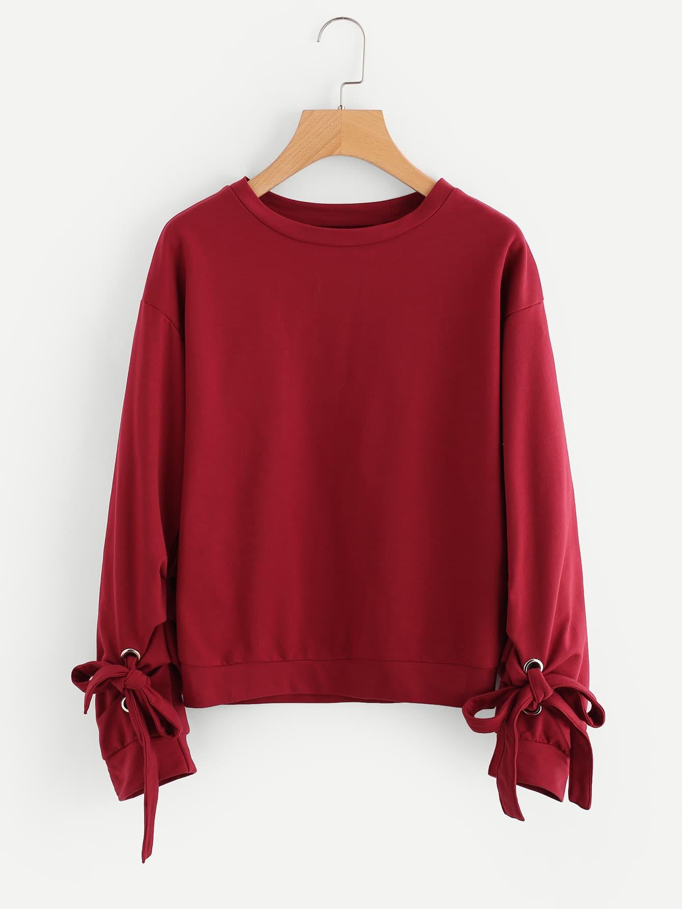 Grommet Tie Detail Drop Shoulder Sweatshirt drop shoulder crop sweatshirt