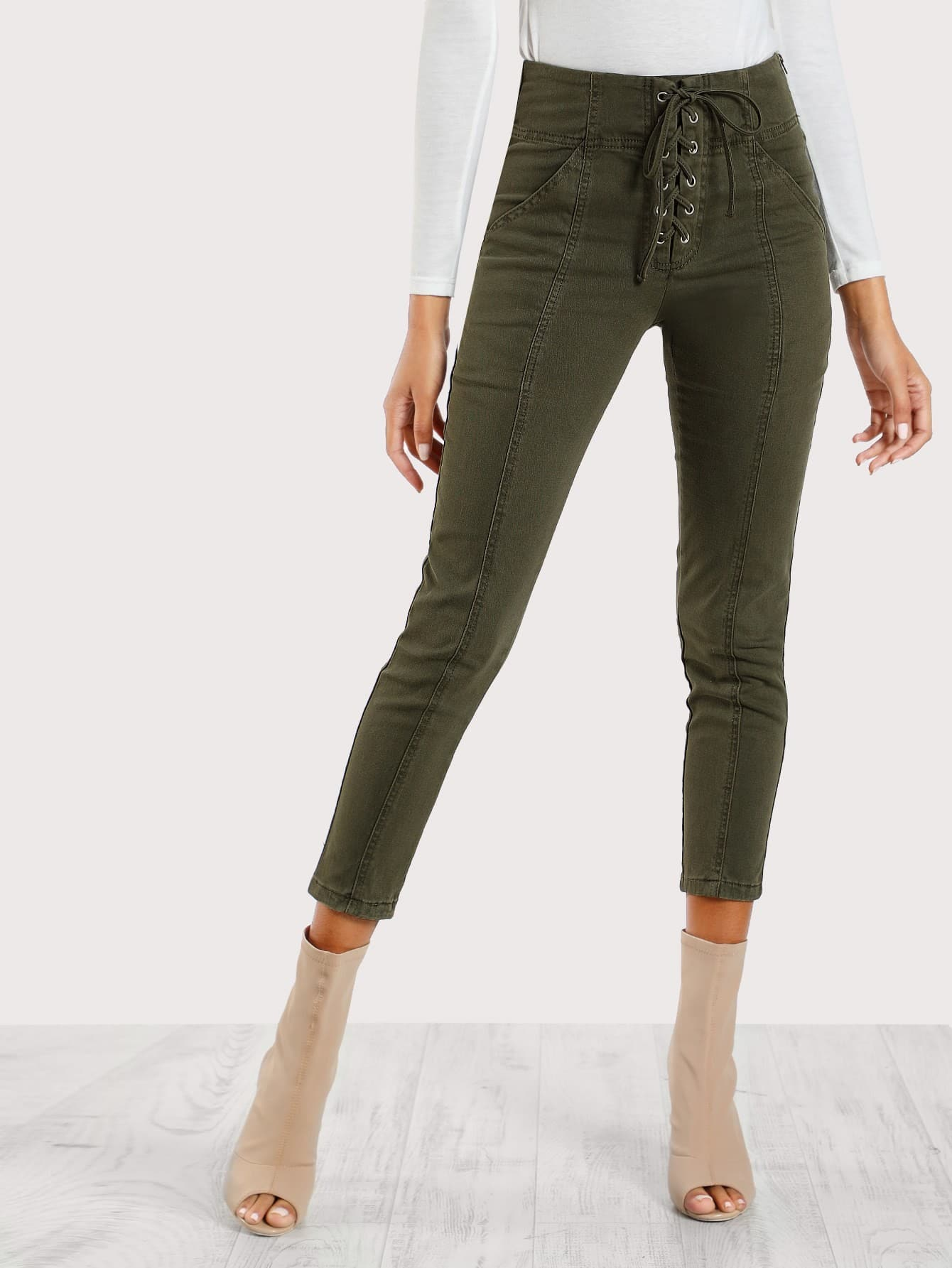 Image of Lace Up Front Skinny Cargo Pants