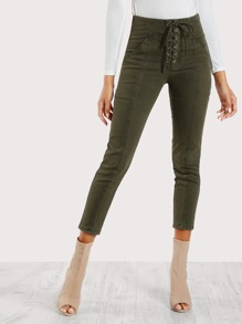 High Rise Lace Up Front Skinny Cargo Pants OLIVE