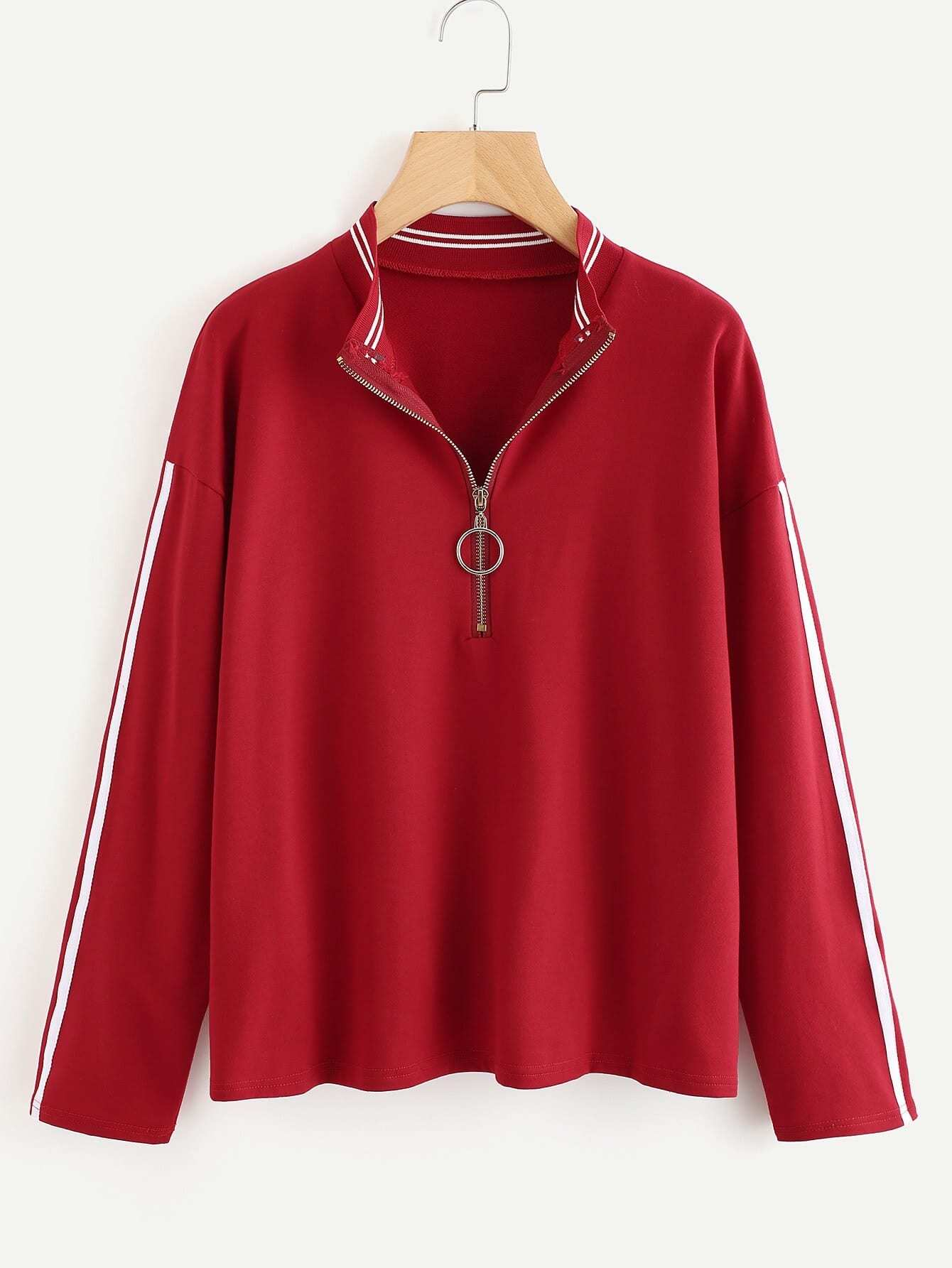 Striped Trim Tape Detail Zip Neck Pullover embroidered tape detail beading trim bardot top