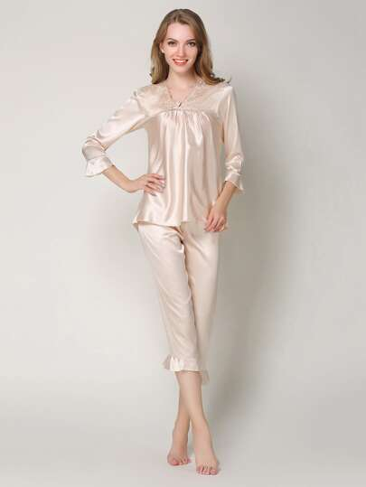 Embroidered Lace Frill Trim Satin Pj Set