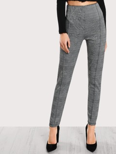Mid Rise Plaid Print Pants GREY