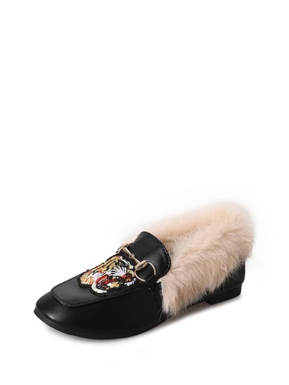 Embroidered Applique Faux Fur Lined Flats