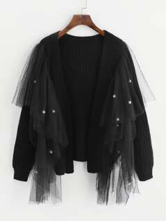 Pearl Beaded Mesh Embellished Sweater