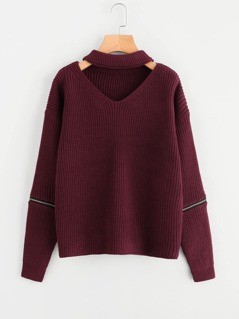 Zipper Detail Sleeve V Cut Choker Neck Jumper