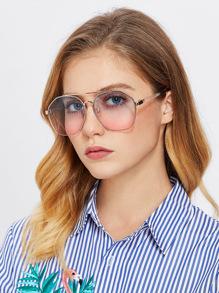 Double Bridge Metal Frame Glasses