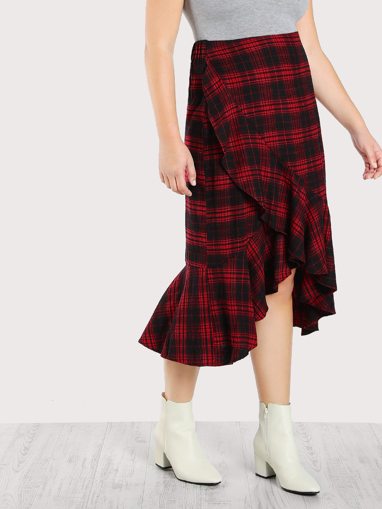 Image of Ruffle Trim Overlap Plaid Skirt
