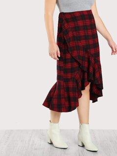 Ruffle Trim Overlap Plaid Skirt