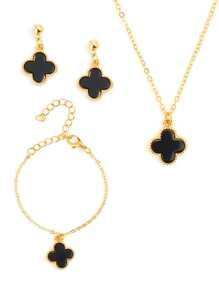 Flower Charm Earrings & Bracelet & Necklace