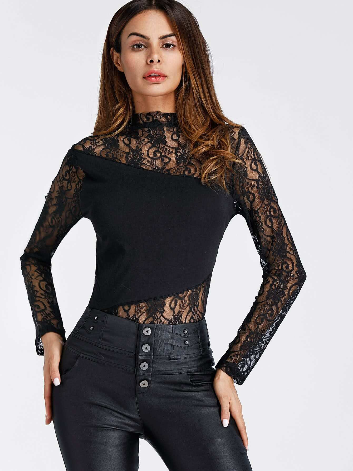 Embroidered Lace Panel Bodysuit embroidered lace panel bodysuit