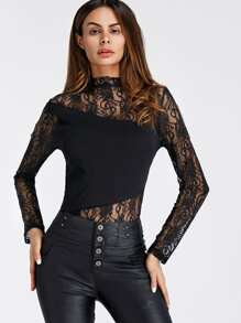Embroidered Lace Panel Bodysuit