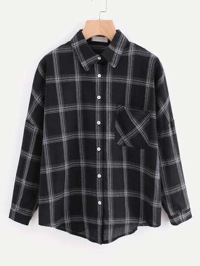 Dip Hem Chest Pocket Checked Shirt