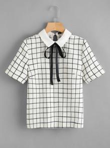 Bow Tie Neck Grid Blouse