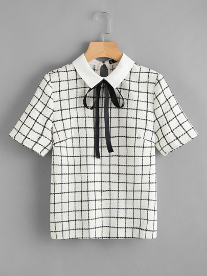 Bow Tie Neck Grid Blouse