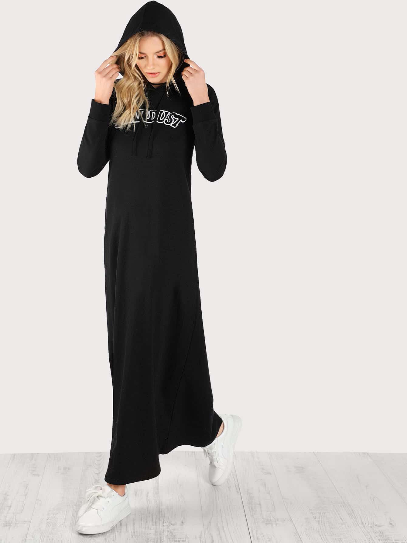 Купить Модное макси платье с капюшоном и вышивкой, Alanna Whittaker, SheIn