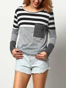Stripe Contrast Cut And Sew Tee