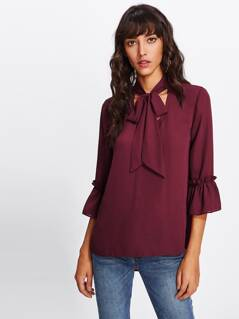 Frilled Fluted Sleeve Cutout Tie Neck Top