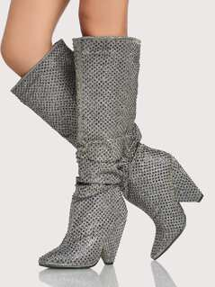 Glitter Slouchy Booties PEWTER
