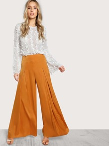 Pleated Wide Leg High Rise Pants MUSTARD