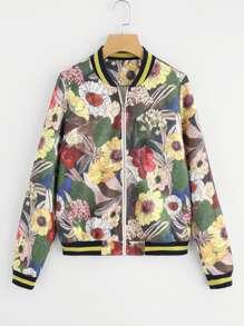 Mixed Print Striped Bomber Jacket