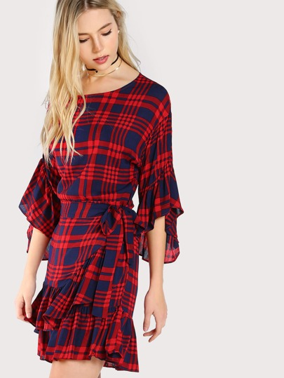 Trumpet Sleeve Plaid Dress RED NAVY