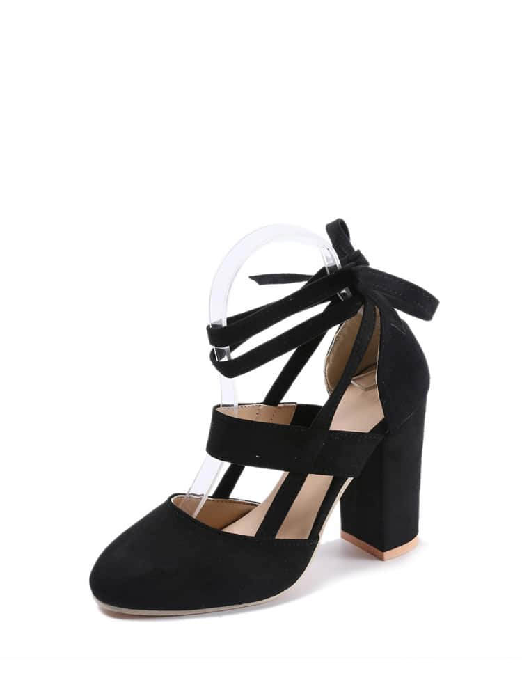 Lace Up Ankle Strap Chunky Heels