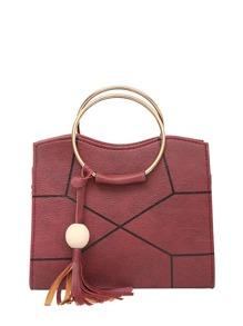 Ring Handle Geometric Design Crossbody Bag With Tassel
