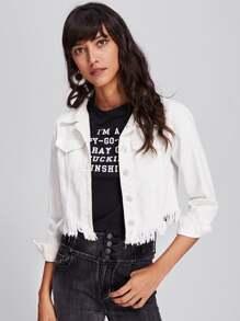 Модная джинсовая куртка с бахромой
