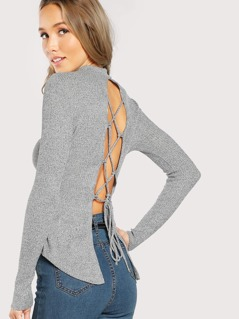 Back Cut Out Tie Up Long Sleeve Ribbed Top GREY