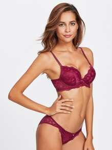 Floral Lace Underwire Set