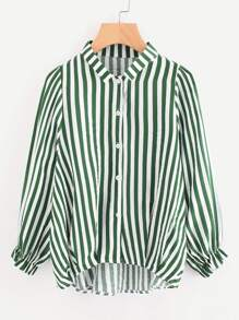 Contrast Stripe Balloon Sleeve Dip Hem Shirt